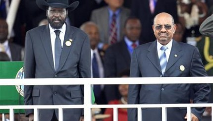 South Sudan's President Kiir and Sudan's President al-Bashir attend the Independence Day ceremony in South Sudan's capital Juba