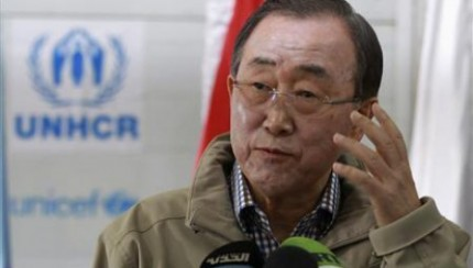 U.N. Secretary-General Ban Ki-moon gestures while speaking to the media during his visit to Al Zaatri refugee camp, in the Jordanian city of Mafraq, near the border with Syria