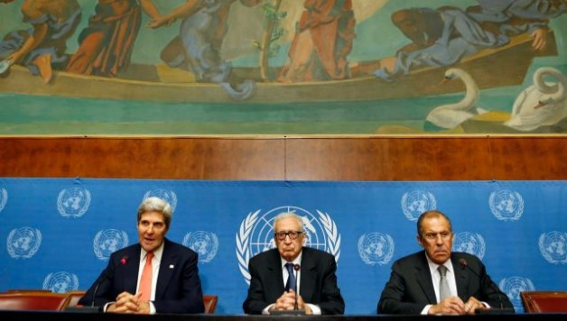 U.S. Secretary of State John Kerry (L) speaks next to UN Special Representative Lakhdar Brahimi (C) and Russian Foreign Minister Sergei Lavrov. Photo by Reuters