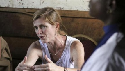 U.S. Ambassador to the U.N. Power speaks to a Congolese woman, near Goma